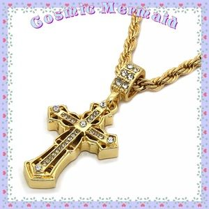 Other - 14k🆕⭐️Spear Edge Cross Iced Out Pendant & Chain⭐️